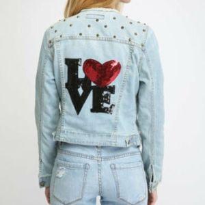 NWT $198 JET by John Eshaya Love Patched /& Studded Denim Jean Jacket sz M //L